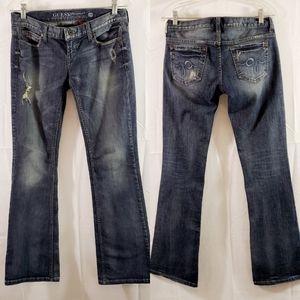 Guess Foxy Flare Distress Women's 28 Blue Jeans